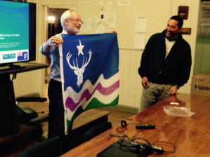 Exmoor Flag presented to Pitcairn Island's mayor Shawn Christian